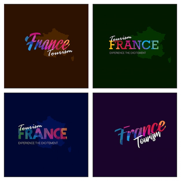 Tourism france typography logo background set Premium Vector