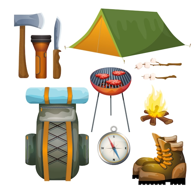 Tourism hiking camping flat pictograms\ collection