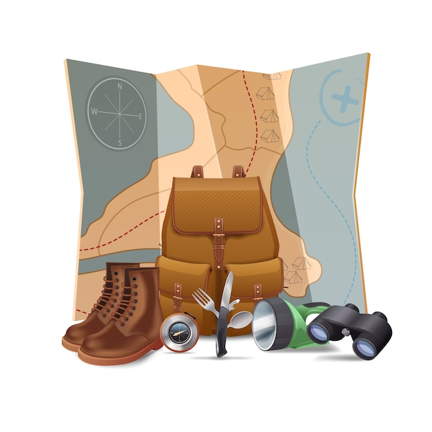 Tourism and hiking concept Free Vector