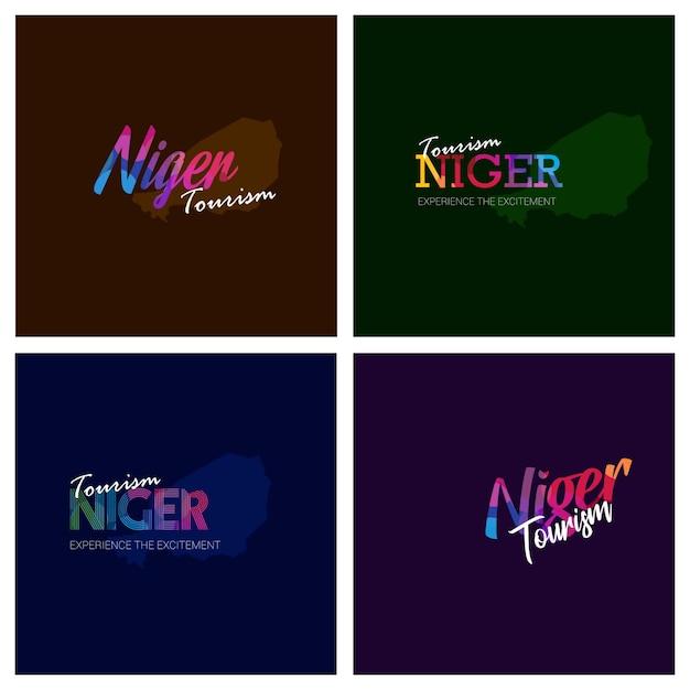 Tourism niger typography logo background set Free Vector