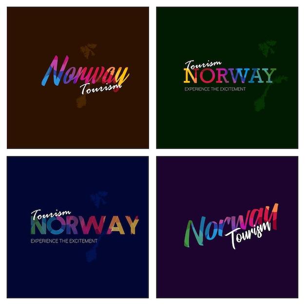 Tourism norway typography logo background set Free Vector