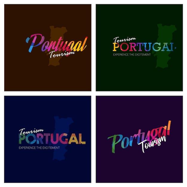 Tourism portugal typography logo background set Premium Vector