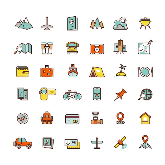 Tourism and transport flat icons Premium Vector