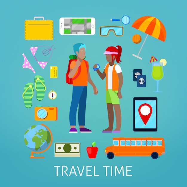 Tourism and travel icons set with tourist couple. Premium Vector