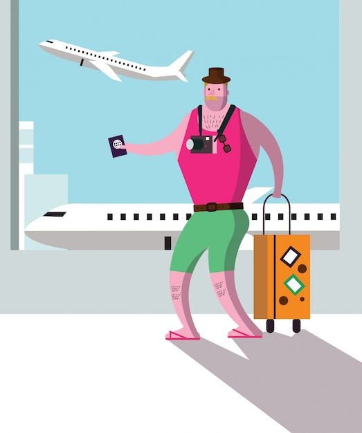 Tourist at airport terminal, travel and vacation concept. Premium Vector