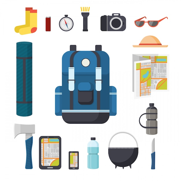 Tourist backpack. great marching backpack with a set of tourist things for travel. things to travel with a backpack - pad, ax, gadgets, compass, flashlight, camera. Premium Vector