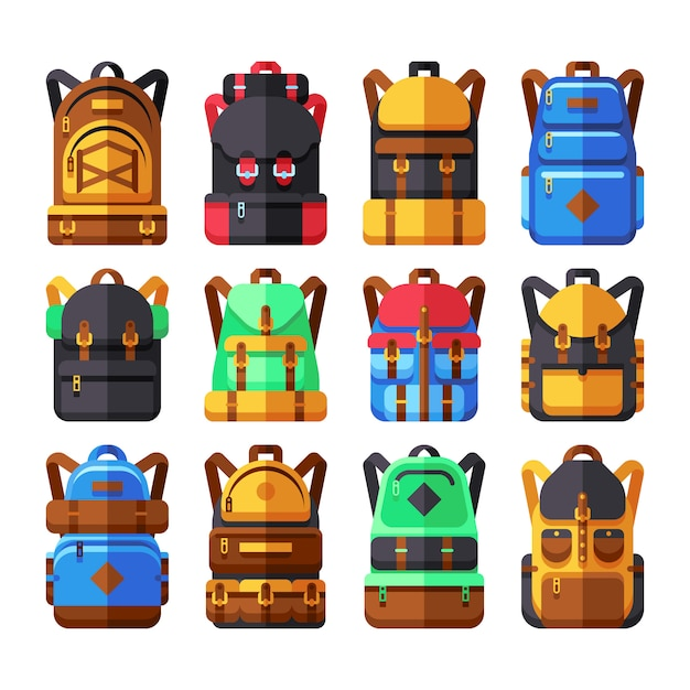 Tourist backpack vector flat icons. hiker knapsack isolated on white. knapsack and backpack for adve Premium Vector