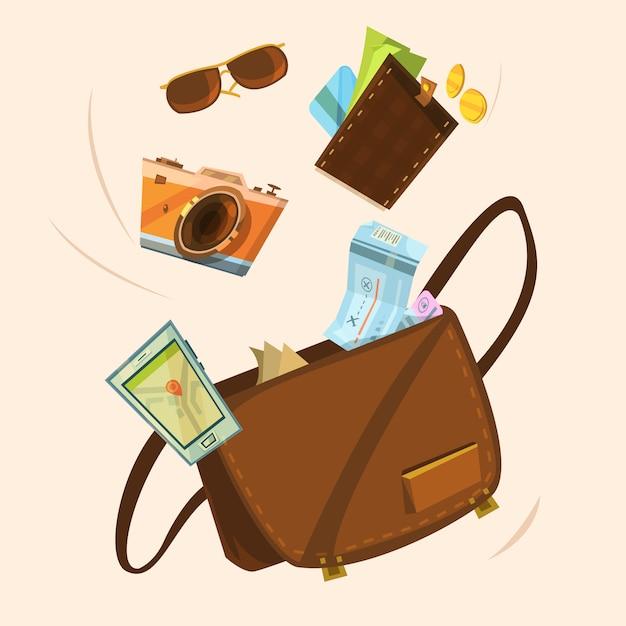 Tourist bag concept Free Vector