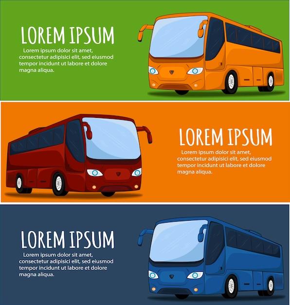 관광 버스 배너. 시내 버스. 버스 아이콘. 큰 투어 버스 그림. 코치 버스의 그림입니다. 프리미엄 벡터