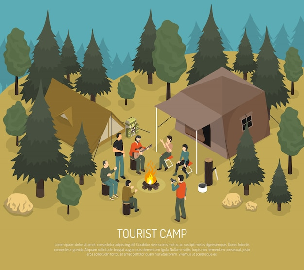 Tourist camp isometric illustration Free Vector