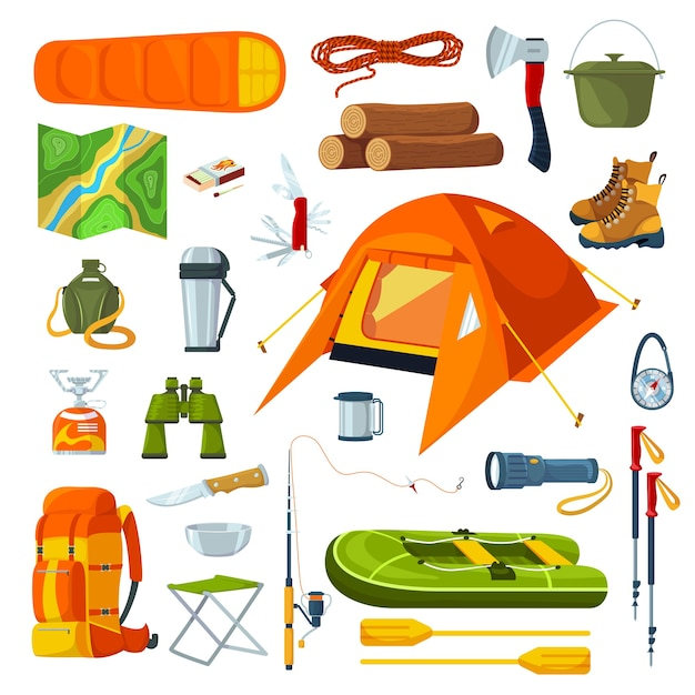 Tourist camping equipment isolated on white set of illustrations Premium Vector