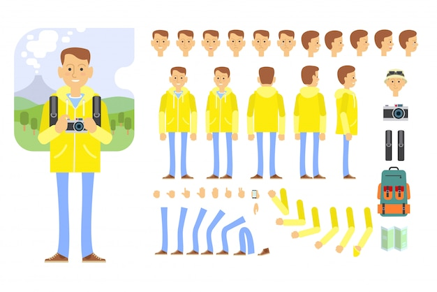 Tourist character set with different poses, gestures, emotions Free Vector