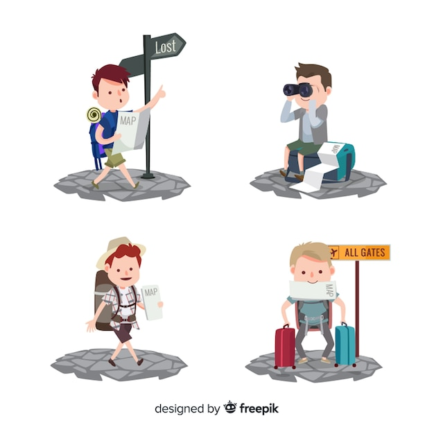 Tourist collection Free Vector