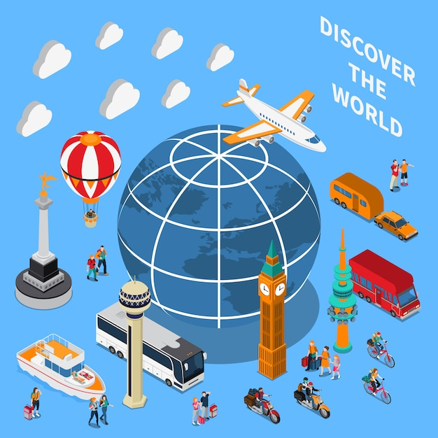 Tourist discoveries isometric composition Free Vector