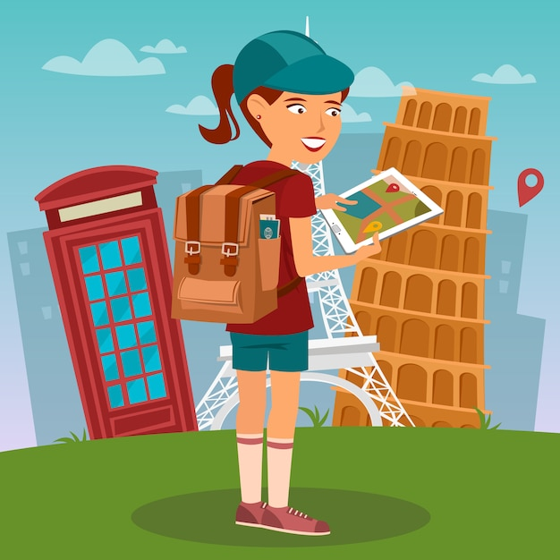 Tourist girl. navigation map on tablet. tourist using mobile navigator. woman with backpack. Premium Vector