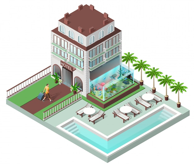 Tourist hotel and sun loungers by pool Premium Vector
