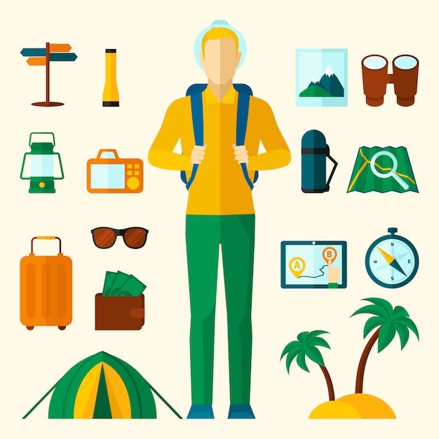 Tourist icons flat set Free Vector