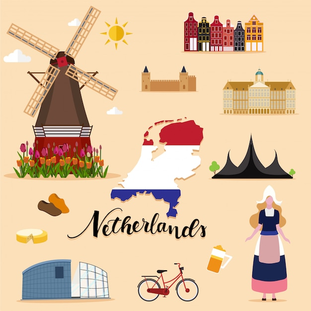 Tourist netherlands travel set collection Premium Vector