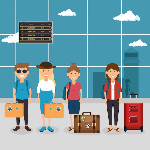 Tourist people with suitcases in the airport Free Vector