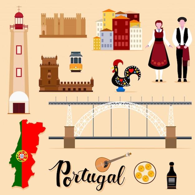Tourist portugal travel set collection Premium Vector