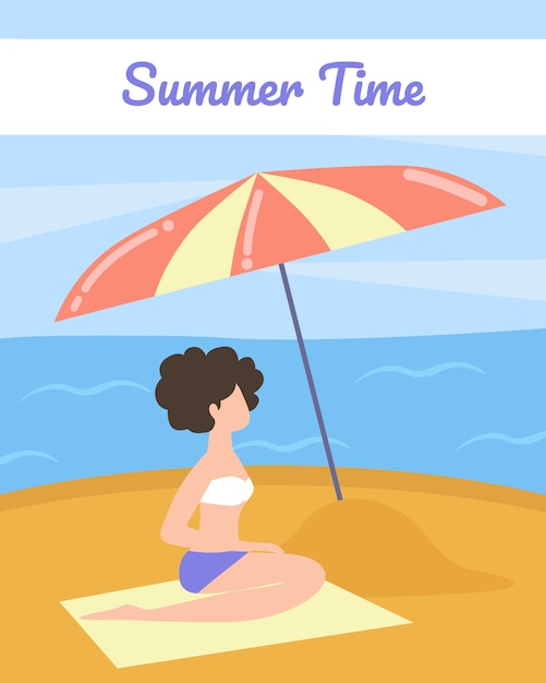Tourist poster with words summer time cartoon Premium Vector