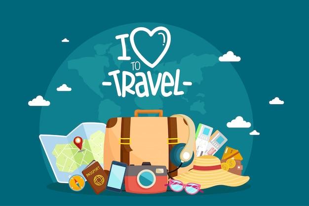 Tourist set travel around the world. Premium Vector