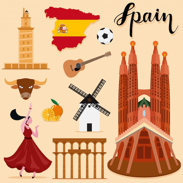 Tourist spain travel set collection Premium Vector