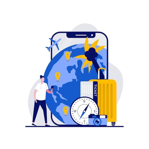 イラスト付きのナビゲーションアプリでスマートフォンの近くに立っている観光客 Premiumベクター