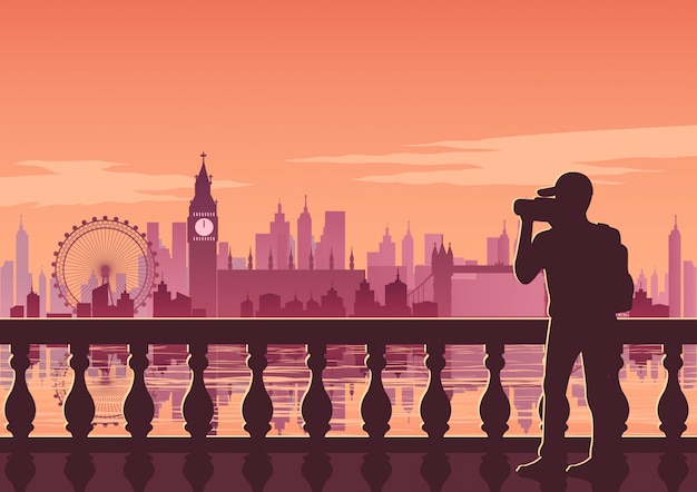 Tourist take photo of famous place called big ben Premium Vector