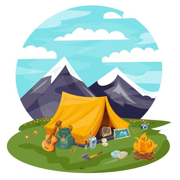 Tourist tent in mountains Premium Vector