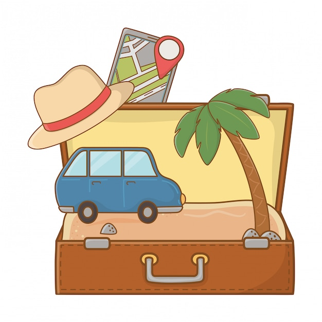 Tourist trip summer travel Premium Vector
