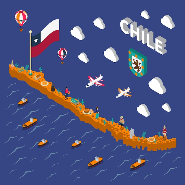 Touristic attractions symbols isometric chile map Free Vector