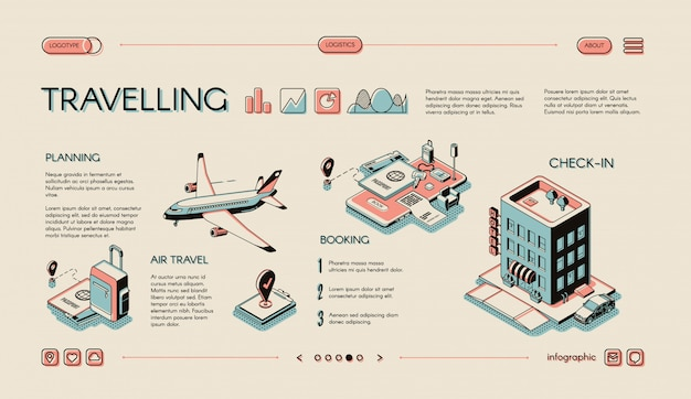Touristic business, traveling services Free Vector
