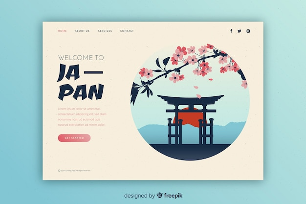 Touristic invitation to japan template Free Vector