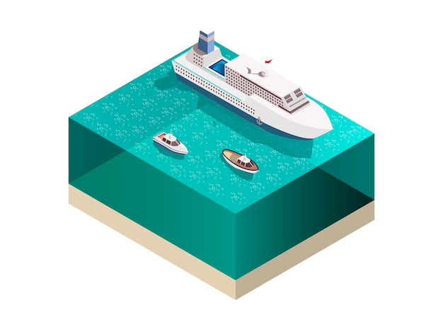 Touristic ships isometric composition Free Vector