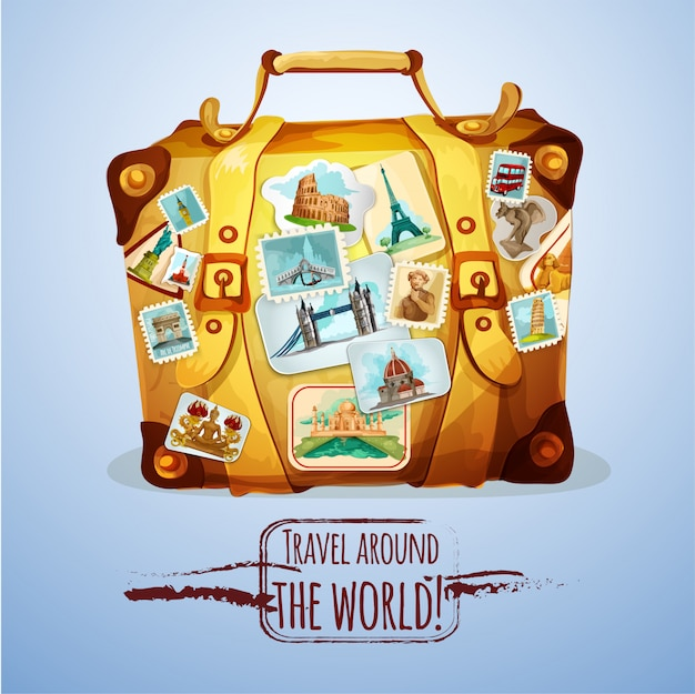 Touristic suitcase with stamps Free Vector