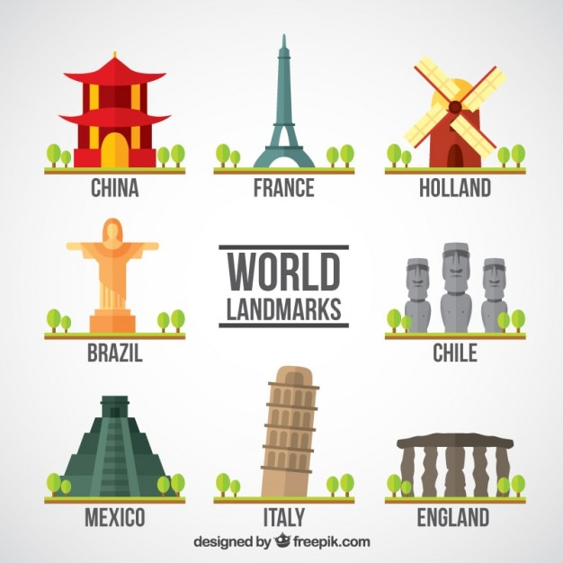 Touristic world monuments Free Vector