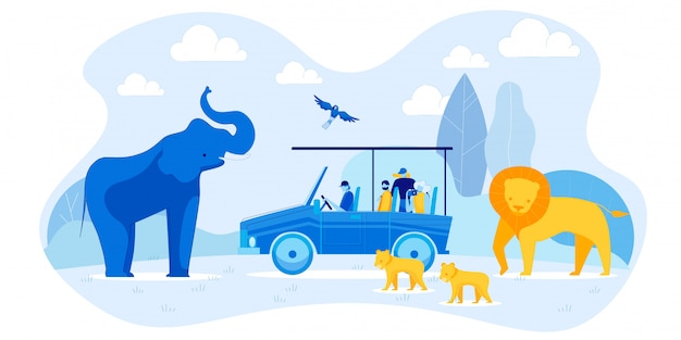 Tourists in car and elephant, lion family, parrot Premium Vector