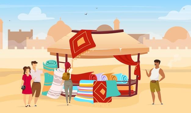 Туристы выбирают персидские коврики плоской иллюстрации Premium векторы