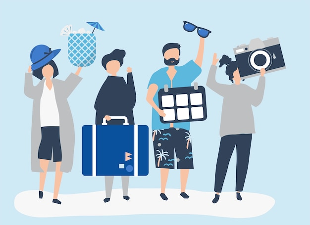 Tourists going on a tropical holiday Free Vector