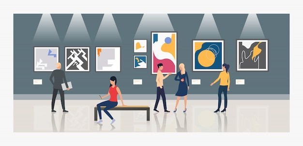 Tourists looking at paintings in art gallery illustration Free Vector