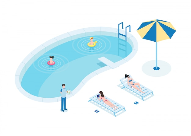 Tourists at pool isometric vector illustration. mothers with children and waiter 3d cartoon characters. Premium Vector