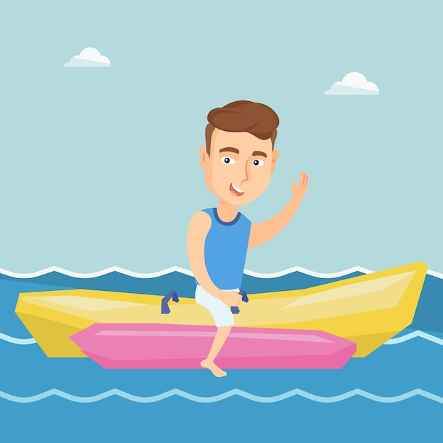 Tourists riding a banana boat vector illustration. Premium Vector