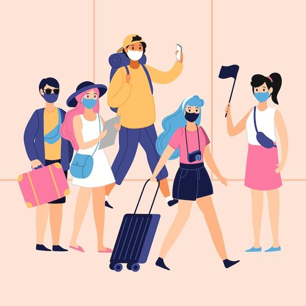 Turisti che indossano maschere per il viso Vettore gratuito