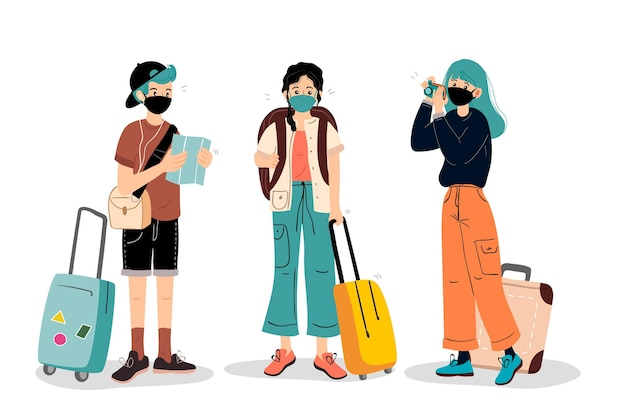 Tourists wearing face masks Free Vector