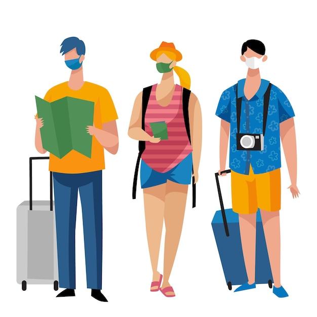 フェイスマスクを身に着けている観光客 無料ベクター