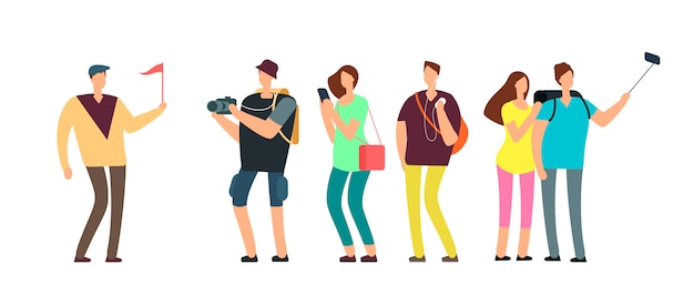 Tourists with guide on travel tour. Premium Vector