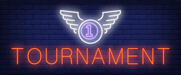 Tournament neon text and ball with wings Free Vector