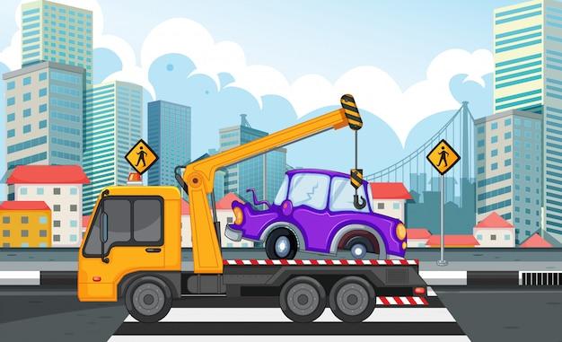 Эвакуатор грузоподъемный автомобиль на дороге Бесплатные векторы