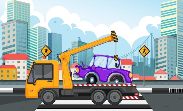 Tow truck lifting car on the road Free Vector